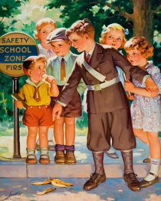 Student Safety ~ by Henry Hintermeister - My dad was on school boy safety patrol in the late 1930's.