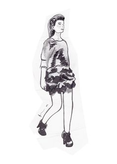 My illustration of the Hillary Martin range highlights from Wellington Fashion Week