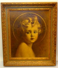 Elegant Oversized Mid Century The Light of the World  by C. Bosseron Chambers in Ornate Frame.  Vintage Christ Child framed art print sepia tones. Lovely vintage piece in a decorative gold frame. The bottom right side of the print is marked (c) E.G. Co., Inc. NY and the name C. Bosseron Chambers is below that.  Excellent condition.  21 x 25 1/2.    $125