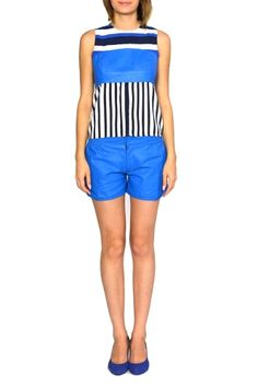 LENA from KAS New York.  LENA is a blue eye-catching leather short.Pair with a white top and wedges to complete the look!
