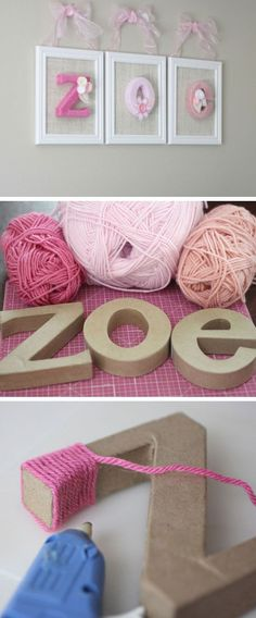 Yarn Wrapped Letters | Click Pic for 20 DIY Decorating Ideas for Girls Room | DIY Bedroom Decorating Ideas for Girls