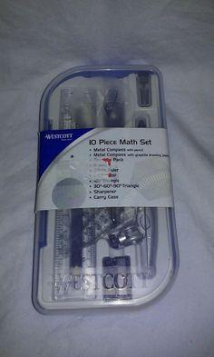 Westcott 10 Piece Math Set Compass Protractor Ruler Triangle Eraser Sharpener #WestCott10PieceMathSet #MathSet #MathCompass