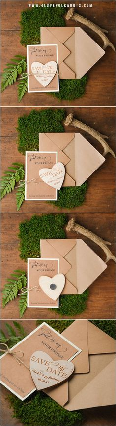 Eco Save the Date Card with wooden Magnet #wood #savethedate #rustic #eco #magnet #weddingideas #woodland