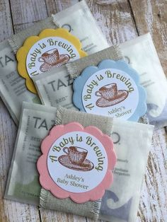 """8 ~ Baby Shower Tea Favors, Baby Shower Tea Bag Favors, """"A Baby is Brewing"""" Favors, tea party favors These custom tea bag favors add style and color to Baby Showers (or Baby Sprinkles! Regalo Baby Shower, Baby Shower Invitaciones, Shower Bebe, Baby Shower Party Favors, Baby Shower Parties, Baby Shower Themes, Baby Boy Shower, Baby Shower Gifts, Shower Prizes"""