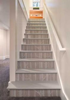 Staircase Painted Stairs Design, Pictures, Remodel, Decor and Ideas - page 2 Wallpaper Staircase, Birch Tree Wallpaper, Wood Wallpaper, Wallpaper Ideas, Wallpaper Crafts, Luxury Wallpaper, Modern Wallpaper, Stair Risers, Stair Railing