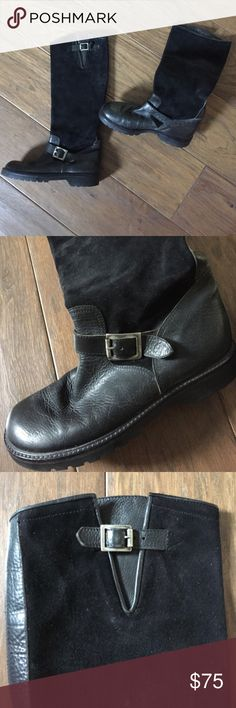 RL leather and suede boot with buckle trim. A great statement boot with jeans and leggings. Rubber soles- in great shape.. Adjustable ankle and calf buckle.  Minimal markings on suede. Minimal heal wearing- see photo 4. Broken in nicely for you. Ralph Lauren Shoes