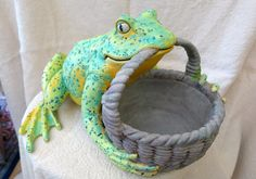 Painted Frog Garden Planter  Heavy duty indoor outdoor ceramic frog planter. Hand-painted. Ready for spring planting.
