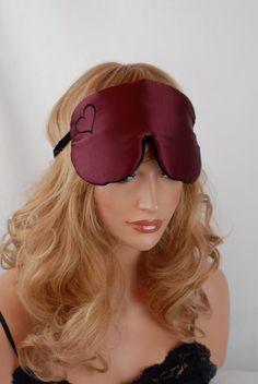 100% Silk Eye Mask Sleep Mask Wine and Black by AdorabellaBaby