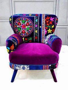 Huicholes..sillón bordado