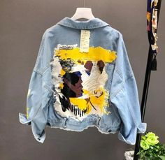 Autumn Hand-Painted Pattern Chic Coat Letters Print Cool Girl Denim Jacket Turn-Down Collar 2019 Fashion Pockets Bf Outwear Girls Denim Jacket, Painted Denim Jacket, Denim Coat, Denim Jacket Vintage, Denim Paint, Men's Denim, Harajuku Mode, Harajuku Fashion, Harajuku Style