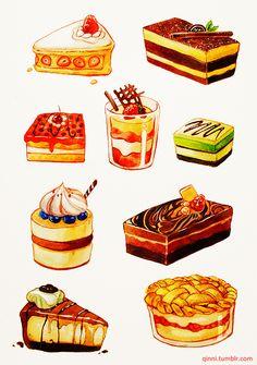 水彩画蛋糕~-插画家园