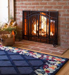 Our Two-Door Fireplace Screens have beveled glass panels and mesh screening so you can watch the flames through cut glass and still enjoy the heat from your fire. The screen keeps sparks from leaving your fireplace, making it both safe and beautiful.