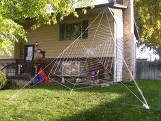 DIY gigantic Halloween spider web.