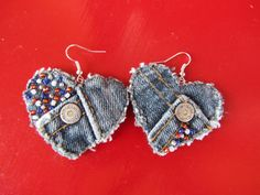 Earrings - Heart Shaped Recycled Calvin Klein Denim - Red, White, and Blue Beads - Upcycled