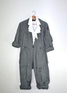 0221660e7994 Vintage Jumpsuit Coveralls Air Force Flightsuit US Air Force Military  Coveralls Air Force Jumpsuit Green Jumpsuit 44 Regular