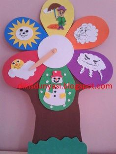 Weather Chart Recognize seasonal and weather related changes Kids Crafts, Easy Crafts, Diy And Crafts, Arts And Crafts, Paper Crafts, Diy Paper, Class Decoration, School Decorations, Weather Crafts