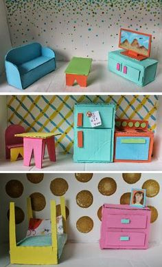 Cute ideas for cardboard furniture.  I love the style and the colors.  http://nomluna.blogspot.com/2013/09/finished-dollhouse.html