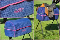 Saddle Rack Cover (Patent Pending) in Navy Blue with Dark Pink Trim