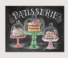 French Bakery Patisserie Chalk Art Spring Art Macarons