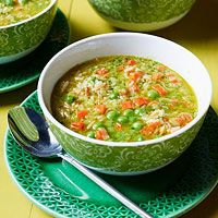 Pea & Carrot Soup with Rice: butter, orzo, white rice, chicken broth, EVOO, carrots, leeks, peas, parsley, mint, parmesan, pine nuts, and garlic