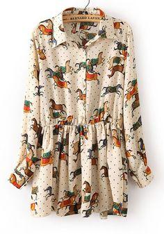 Beige Floral V-neck Short Cotton Blend Dress
