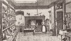 Upperclass kitchens were of course the territory of servants only. Gradually, these houses got water pumps, sinks, drains, and sometimes even water on tap. With the closed stoves the kitchen became a cleaner place, because the fire was more restricted.