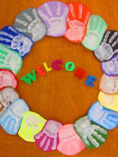 RainbowsWithinReach: Handprint Happiness: Classroom Door Wreath