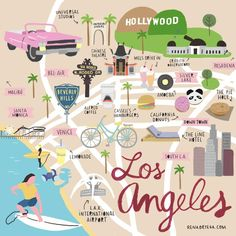 illustrated map of los angeles Map Los Angeles, Los Angeles Travel Guide, Downtown Los Angeles, Weekend In Los Angeles, Moving To Los Angeles, Travel Maps, Travel Usa, Places To Travel, Pier Santa Monica