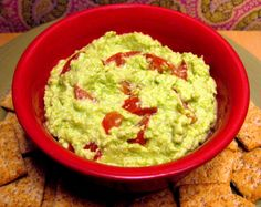 Edamole--a.k.a., guacamole made with edamame instead of avocados. Low-fat, high-protein, and tasty, too.