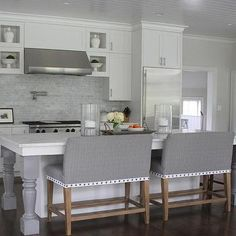 White Kitchen Island with Gray Turned legs
