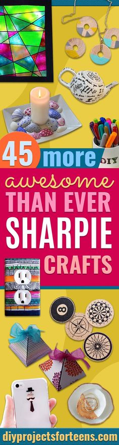 Sharpie Crafts For Teens, Kids and Adults - DIY Projects and Ideas with Sharpies Using Markers on Fabric, Glass, Mugs, T- Shirts, Plates, Paper - Creative Arts and Crafts Ideas for Room Decor, Gifts and Fun Fashion , Teen Bedroom Wall Art