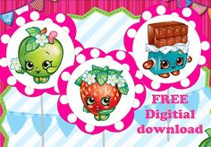 FREE Shopkins Birthday Party Printable cupcake toppers, banners, invitations, bingo, labels