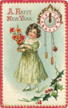 happy new year. Vintage New year postcard Vintage Happy New Year, Happy New Year Cards, New Year Greeting Cards, New Year Wishes, New Year Greetings, Vintage Greeting Cards, Vintage Christmas Cards, Christmas Images, Vintage Holiday
