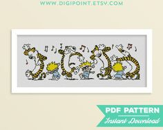 50% OFF SALE Calvin and Hobbes Cross Stitch Pattern Hugs