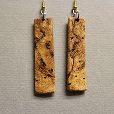 Mango long thin Exotic Wood Drop Earrings