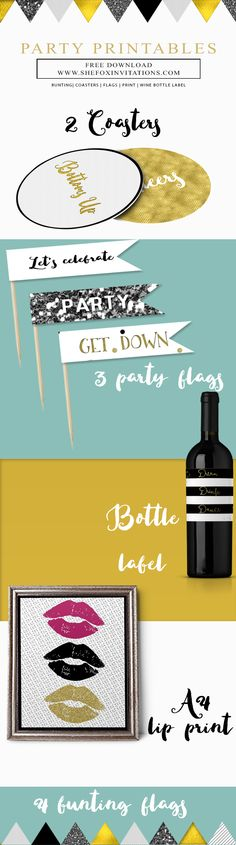 Free printable metallic gold black silver white party pack. Includes 4 bunting flags, 3 food flags, 2 coasters, 1 bottle label and a4 size lips print.
