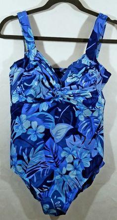 04afb36b390 Lands End Blue Floral One Piece Bathing Suit Size 16W #LandsEnd #OnePiece Bathing  Suit