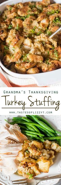 The BEST Thanksgiving Dinner Holiday Favorite Menu Recipes Classics, Improved and Traditional Delicious Dishes- She says this buttery, savory, melt-in-your-mouth stuffing is the best stuffing recipe around! Grandma's Thanksgiving Turkey Stuffing Recipe Best Stuffing Recipe, Turkey Stuffing Recipes, Stuffing Recipes For Thanksgiving, Thanksgiving Side Dishes, Thanksgiving Turkey, Hosting Thanksgiving, Thanksgiving Desserts, Christmas Desserts, Homemade Stuffing