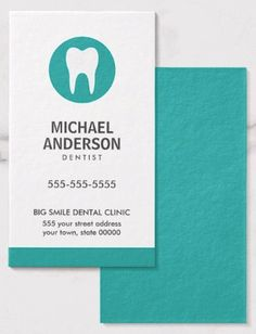 Dentist or dental clinic / assistant modern teal business cards. Modern and minimal, vertical dentist or dental assistant business card featuring a white tooth logo on a teal circle. Customizable name, title / business name and contact information on the front. Teal back. Great business card for anyone working with teeth. Dental business cards