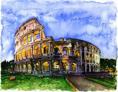 A painting of the Colosseum. The Colosseum is the most famous tourist attraction in Italy, it receives millions of tourists each year. (https://architecture.knoji.com/17-interesting-facts-about-the-colosseum/)