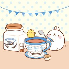 :) Molang bunny making tea!♥ #kawaii #sweet