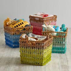 Fade Up Rattan Floor Basket (Blue)