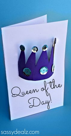 Toilet Paper Roll Crown Craft for kids! (Put on a Mother's Day Card) | http://www.sassydealz.com/2014/04/toilet-paper-roll-crown-craft-mothers-day-card.html