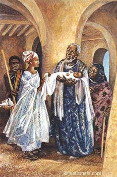 """Jesus is Presented in the Temple,"" Lk 2:22, Jesus Mafa"
