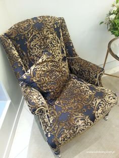 Armchair with damask