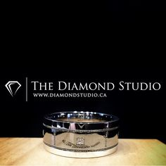 This may be my new favorite men's band. Clean, classy and modern. Made in white gold and black gold it features 5 princess cut diamonds evenly spread around the ring. #diamond #diamonds #wedding #weddings #engagement #ring #rings #bride #brides #jewellery #jewelry #groom #grooms #band #diamondboi