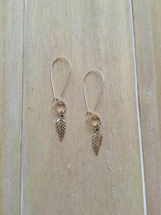 Long kidney earwires with feather or leaf charm