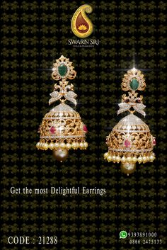 Floral Designer & Delightful Earrings only @ Swarnsri, SwarnSri Gold & Diamonds, Vijayawada. Code: For any queries please. Gold Jhumka Earrings, Indian Jewelry Earrings, Jewelry Design Earrings, Gold Earrings Designs, Gold Jewellery Design, Necklace Designs, Gold Necklace, Gold Wedding Jewelry, Gold Jewelry