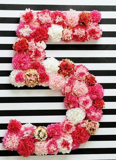 Kate Spade Inspired Floral Letter Number 24 Inch Custom Kate