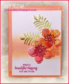 For Featured Stamper 466...Congratulations to {gunilla.holmqvist}! She has such a lovely gallery, and I finally decided to choose [url=http://www.splitcoaststampers.com/gallery/photo/2159914?&cat=500&ppuser=336166&perpage=96&thumbsonly=0]one of her first uploads[/url] for my inspiration.  The ferns in her card were what caught my eye first, so I kept those in a similar layout, and then added flowers instead of her sun. The flowers are cut from a Gelli print I made, and the middle is sponged…